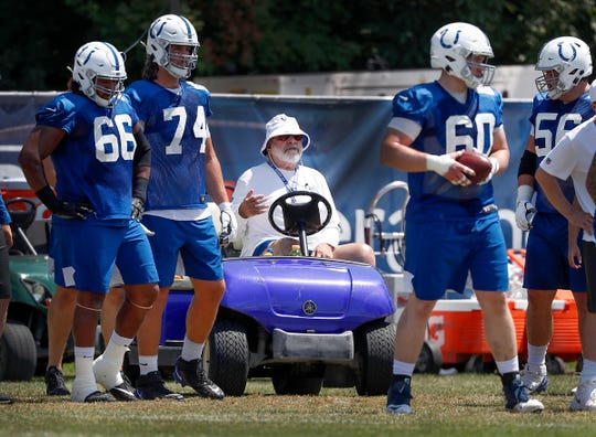 Howard Mudd worked with the offensive line during the Colts preseason training camp practice at Grand Park in Westfield.