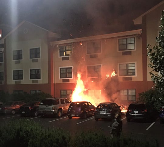 A fire at the Extended Stay Hotel in Indianapolis displaced 200 people early Saturday morning.