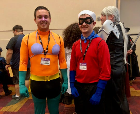 """Andrew and MacKinnley Dawkins, both from Indianapolis, wore costumes inspired by """"Spongebob SquarePants"""" to this year's Gen Con."""