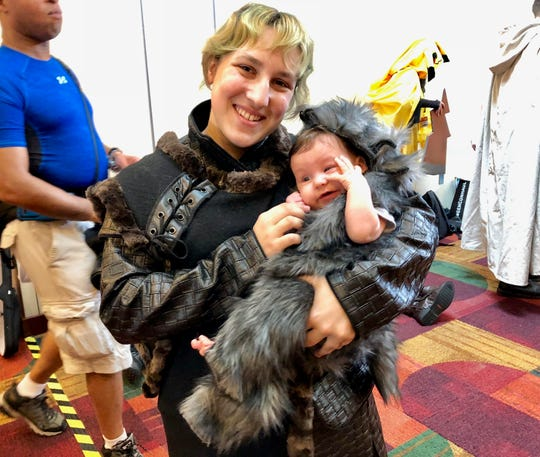 """Amancay Kugler poses with her 4-month-old daughter Diana. The pair attended Gen Con on Saturday dressed in outfits inspired by """"Game of Thrones."""""""