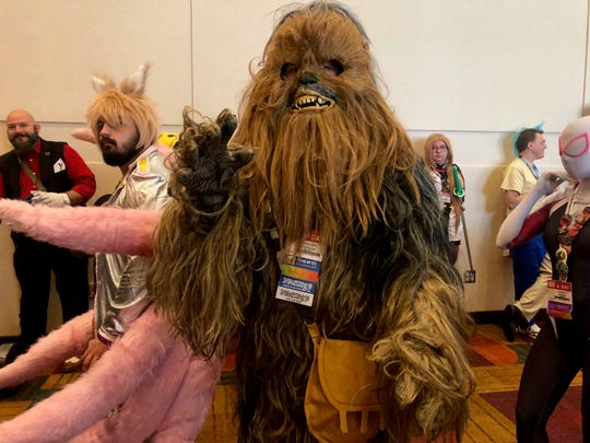 """David Cordell came dressed as Chewbacca from """"Star Wars"""" for this year's Gen Con."""