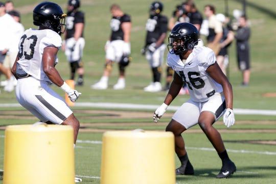 Purdue linebacker Cornel Jones (46) blocks Purdue linebacker Khali Saunders (33) during practice, Saturday, Aug. 3, 2019 at Bimel Practice Complex in West Lafayette.