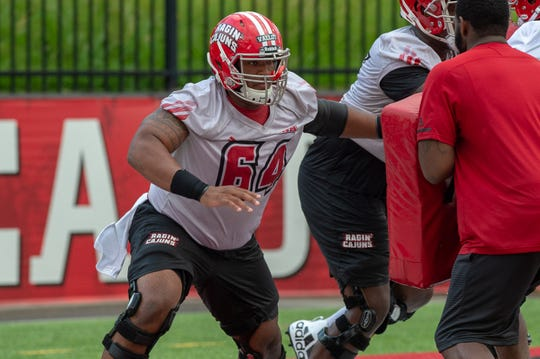 UL offensive lineman Shane Vallot practices during the Ragin' Cajuns Training Camp at Cajun Field Aug. 2. The Comeaux High product separated himself in camp and is expected to get the start for UL.
