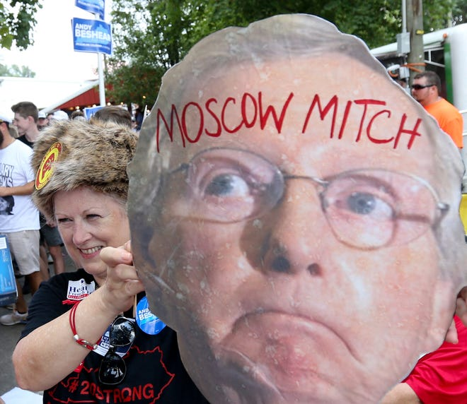 Moscow Mitch signs have made their way to Fancy Farm on Aug. 3, 2019