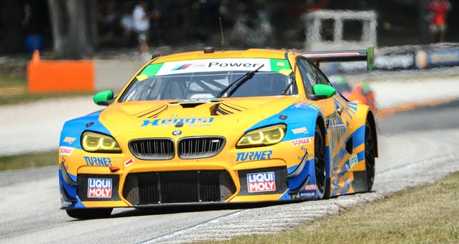 Robby Foley drives in the No. 96 Turner Motorsport BMW M6 GT3 during qualifying Saturday at Road America.