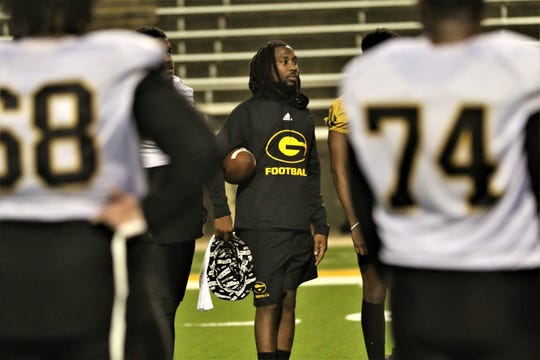 Grambling State redshirt senior wide receiver Darrell Clark, middle, returned to the team Wednesday and was at the first practice of fall camp Thursday, Aug. 1, 2019, a little more than a month after being shot and his brother killed in a triple shooting in the metro New Orleans area.