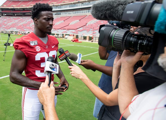Alabama linebacker Dylan Moses (32) during a media availability at Bryant-Denny Stadium on the UA campus in Tuscaloosa, Ala., on Saturday August 3, 2019.