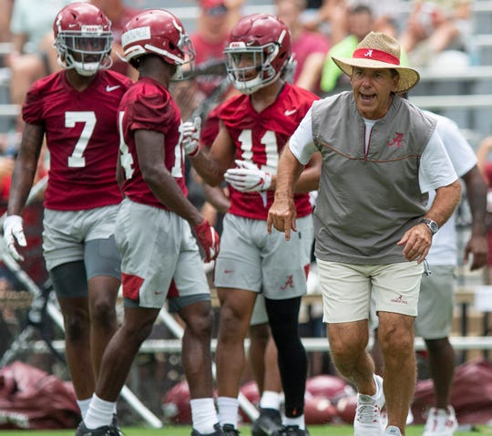 Alabama head coach Nick Saban during Alabama's fan day practice at Bryant-Denny Stadium on the UA campus in Tuscaloosa, Ala., on Saturday August 3, 2019.