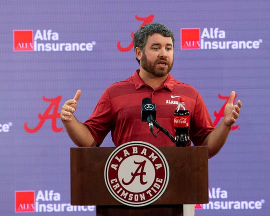 Alabama defensive coordinator Pete Golding speaks during a coaches press conference on the UA campus in Tuscaloosa, Ala., on Saturday August 3, 2019.