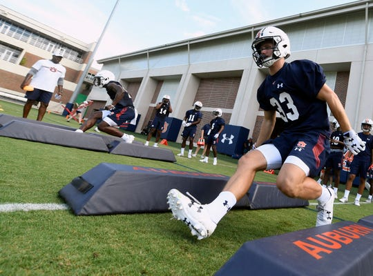 Auburn wide receiver Will Hastings goes through drills during the first fall practice on Friday, Aug. 2, 2019 in Auburn, Ala.