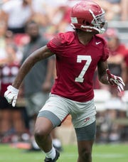 Alabama defensive back Trevon Diggs (7) during Alabama's fan day practice at Bryant-Denny Stadium on the UA campus in Tuscaloosa, Ala., on Saturday August 3, 2019.