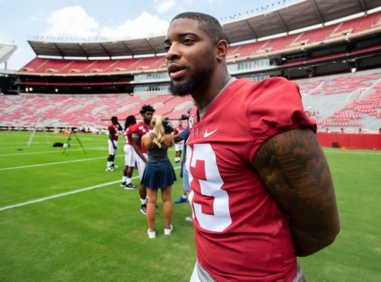Alabama linebacker Anfernee Jennings (33) during a media availability at Bryant-Denny Stadium on the UA campus in Tuscaloosa, Ala., on Saturday August 3, 2019.