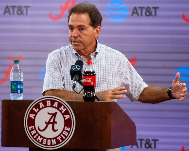 Alabama head coach Nick Saban speaks during a coaches press conference on the UA campus in Tuscaloosa, Ala., on Saturday August 3, 2019.