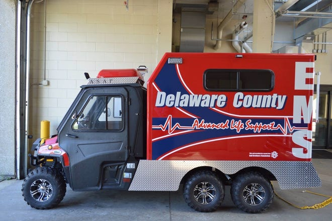 Delaware County Emergency Medical Service personnel on Saturday reached a person, who apparently became ill  while traveling on White River near Daleville, in a specially equipped vehicle purchased with a grant from the Ball Brothers Foundation.