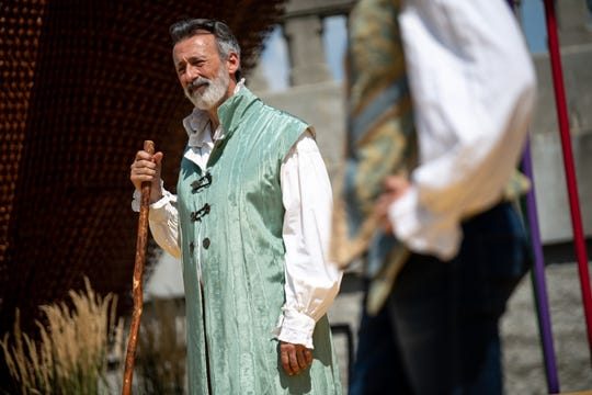 "Mark Cabus, who plays Prospero, rehearses ""The Tempest"" at The Yard at oneC1TY in Nashville on Saturday, Aug. 3, 2019."