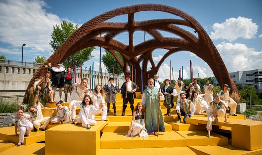 """The cast poses for a picture during a rehearsal of """"The Tempest"""" at The Yard at oneC1TY in Nashville on Saturday, Aug. 3, 2019."""