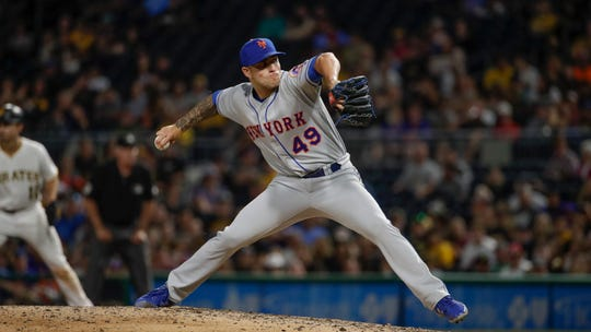 New York Mets relief pitcher Tyler Bashlor delivers during a game against the Pittsburgh Pirates in Pittsburgh, Friday, Aug. 2, 2019.