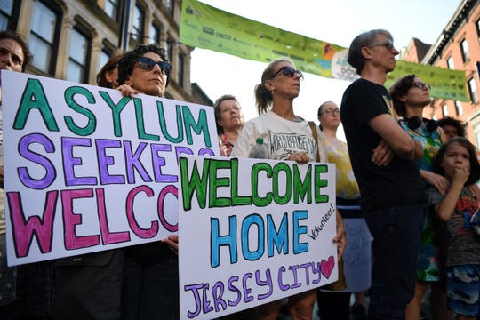Rise for Refuge, a protest of the Trump administration's latest policies to curtail legal immigration across the country, in Jersey City on Saturday, August 3, 2019.