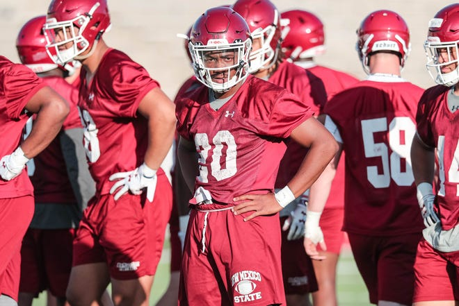 Linebacker Jonathan Hood runs drills at New Mexico State University's first practice of the year in Aggie Memorial Stadium on Friday, Aug 2, 2019.