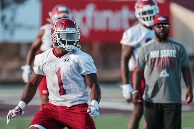 Running back Jason Huntley runs drills at New Mexico State University's first practice of the year in Aggie Memorial Stadium on Friday, Aug 2, 2019.
