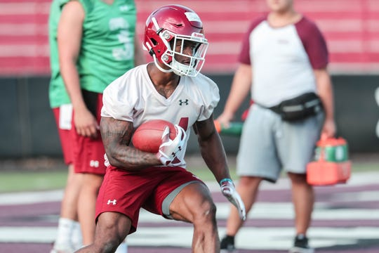 Michigan transfer running back O'Maury Samuels is in fall camp at New Mexico State. Samuels will sit this season out and have two years of eligibility.