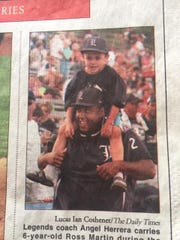 Sometimes old newspaper photos just capture events, but this photo shows the start of a dream. This August 2, 2008 Daily Times photo shows  Ross Martin, then 6, on Florida Legends assistant coach Angel Herrera's shoulders during the 2008 Connie Mack World Series. Martin now hopes to join the Legends for the 2020 CMWS.