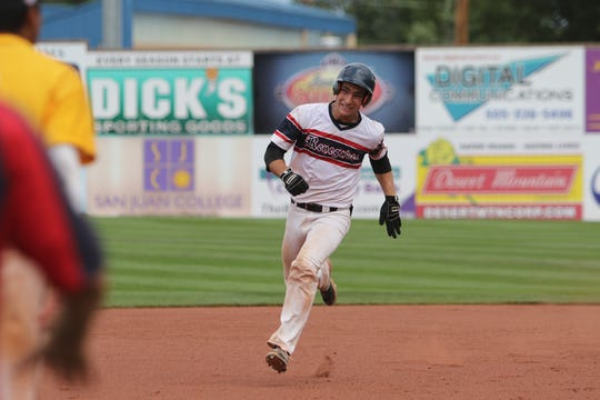 Logan Gallina of the Southern California Renegades runs toward third base for a triple against the Midland Redskins during Saturday's Connie Mack World Series finals at Ricketts Park in Farmington.