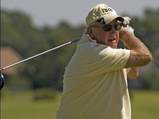 Jerry Stephens tees off on the first green on his way to playing 75 holes for his 75th birthday in 2008. Stephens passed away at 86 earlier this week.