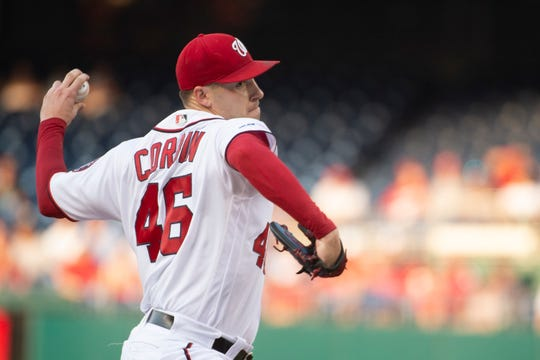 Jul 29, 2019: Washington Nationals starting pitcher Patrick Corbin (46) delivers a during the first inning Atlanta Braves at Nationals Park.