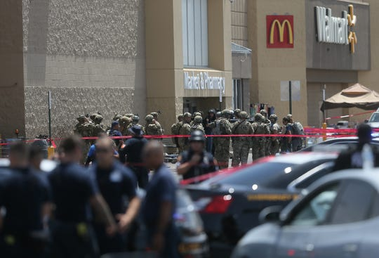 Several law enforcement agencies respond to an active shooter Saturday at the Walmart at Cielo Vista Mall in El Paso.
