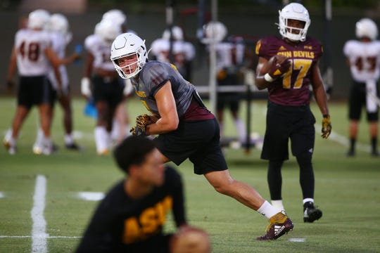Arizona State quarterback Ethan Long (7) lines-up as a receiver during football practice on Aug. 2, 2019 in Tempe, Ariz.