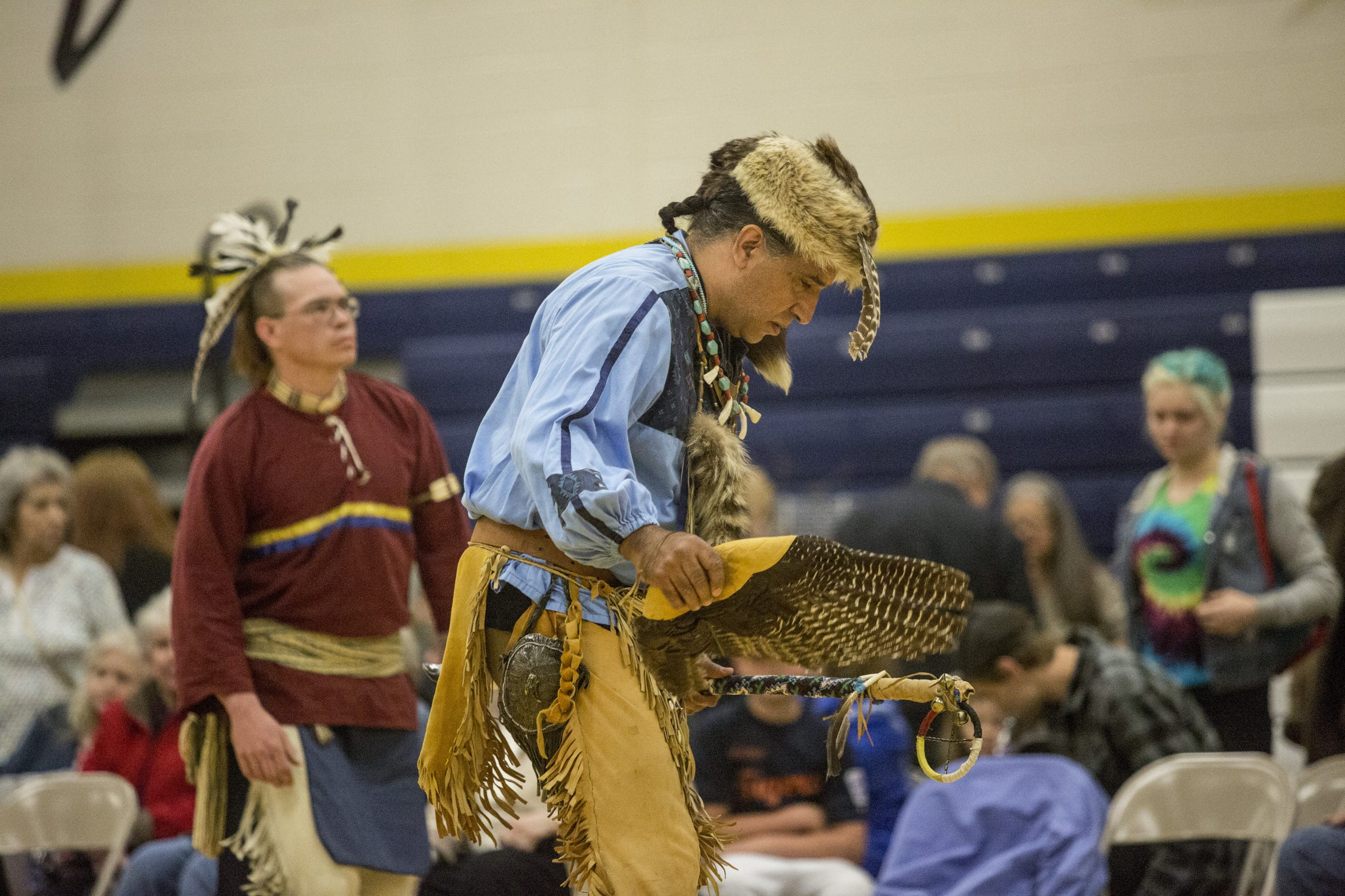 Joe Jacobs participates in the men's traditional dance during the Algonac American Indian Festival and Powwow Saturday, April 30, 2016, at Algonac High School.