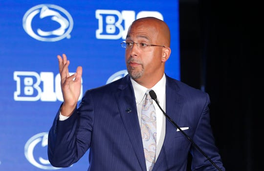 "In Chicago last month, James Franklin announced the recent suspension of star defensive end Yetur Gross-Matos. On Saturday, he praised Gross-Matos, now back with the team. ""I think he's going to have a really big year for us. As the year went on last year, really started to kind of separate himself I think into one of the more elite defensive ends in college football.""  (AP Photo/Charles Rex Arbogast)"