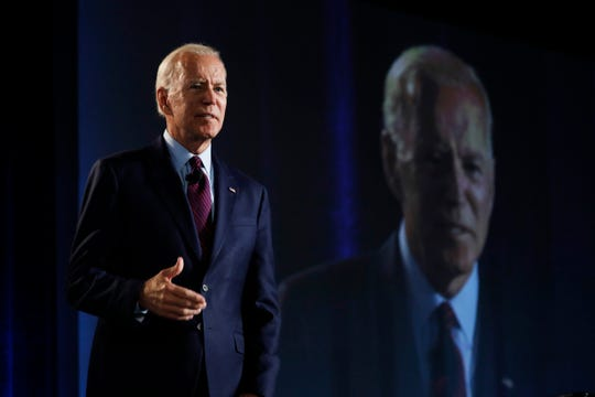 Former Vice President and Democratic presidential candidate Joe Biden speaks during a public employees union candidate forum Saturday, Aug. 3, 2019, in Las Vegas.