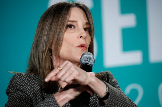 Democratic presidential candidate Marianne Williamson speaks during a public employees union candidate forum Saturday, Aug. 3, 2019, in Las Vegas. (AP Photo/John Locher)