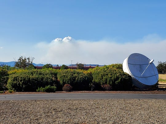 View of the East Evans Creek Road Fire in southwest Oregon from Medford.