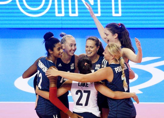 U.S. women's volleyball team celebrate as they win against  Kazakhstan Friday, August 2, 2019, at the CenturyLink Center in Bossier City, in the first of three matches trying to qualify for the Tokyo Olympic Games.