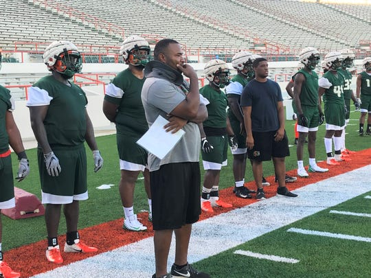 FAMU defensive coordinator Ralph Street watches his unit execute plays during the first day of practice on Friday, Aug. 2, 2019.