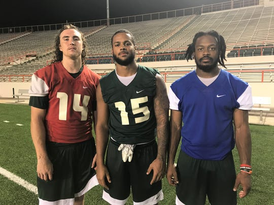 FAMU quarterback Ryan Stanley (left), linebacker Elijah Richardson and wide receiver Marcus Williams provide strong leadership for the Rattlers. They demonstrate high character on and off the field.