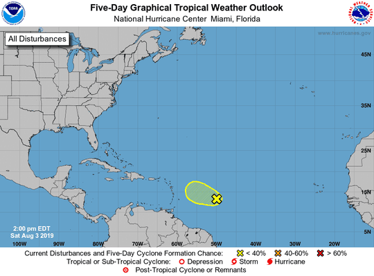 Tropical conditions, Aug. 3, 2019