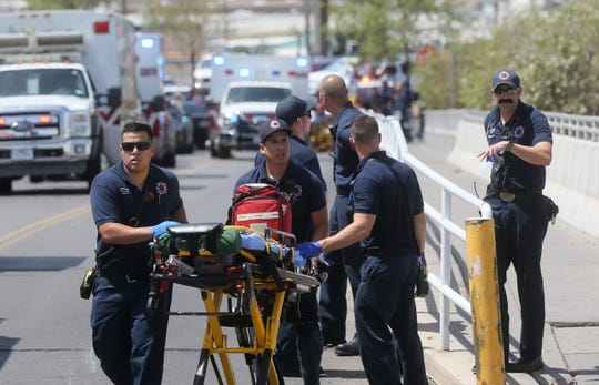 El Paso Fire Medical personnel arrive at the mass shooting at Walmart near Cielo Vista Mall in El Paso on Saturday, Aug. 3, 2019.