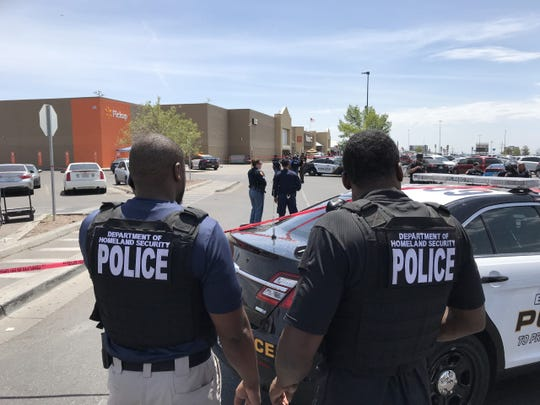 Department of Homeland Security police are shown at the scene of the shooting at Walmart in the Cielo Vista Mall area Saturday, Aug. 3, 2019..