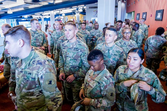 Delaware National Guardsmen scheduled for deployment in Southwest Asia are honored on Saturday, Aug. 3 in Dover.