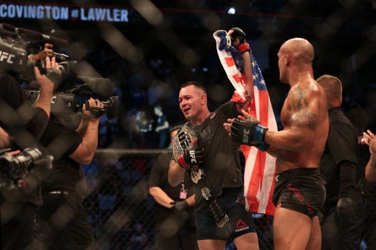 Colby Covington celebrates after defeating Robbie Lawler.