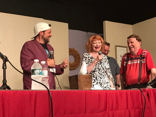 """Kevin Smith, from left, Donna Jeanne Bagnole, Brian O'Halloran and Joe Bagnole at a staged reading of the """"Clerks 3"""" screenplay at the First Avenue Playhouse in Atlantic Highlands on Aug. 3, 2019."""