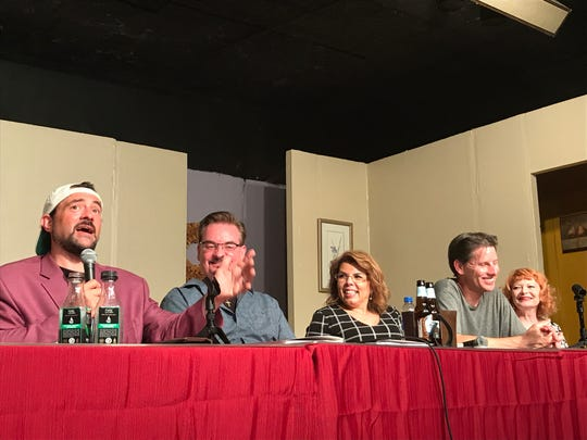 """Kevin Smith, from left, Brian O'Halloran, Marilyn Ghigliotti, Ernie O'Donnell and Donna Jeanne Bagnole at a staged reading of the """"Clerks 3"""" screenplay at the First Avenue Playhouse in Atlantic Highlands on Aug. 3, 2019."""