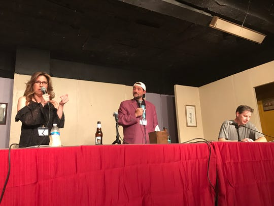 """Diana Devlin, from left, Kevin Smith and Ernie O'Donnell at a staged reading of the """"Clerks 3"""" screenplay at the First Avenue Playhouse in Atlantic Highlands on Aug. 3, 2019."""