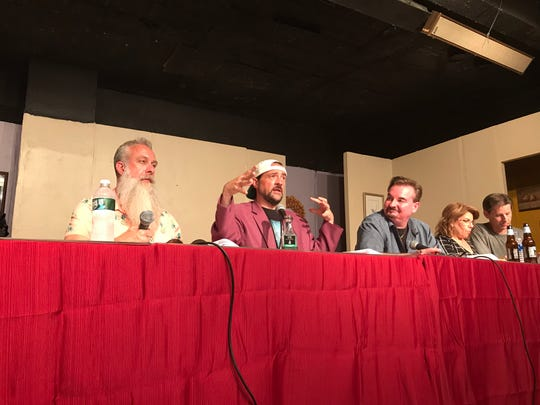 """Bryan Johnson, from left, Kevin Smith, Brian O'Halloran, Marilyn Ghigliotti and Ernie O'Donnell at a staged reading of the """"Clerks 3"""" screenplay at the First Avenue Playhouse in Atlantic Highlands on Aug. 3, 2019."""