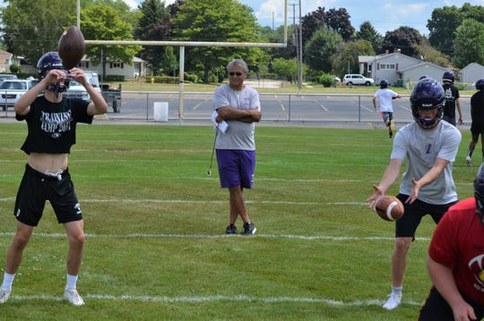 Second-year head coach Jerry Diorio watches his Lakeview team go through a drill during team camp earlier this summer.