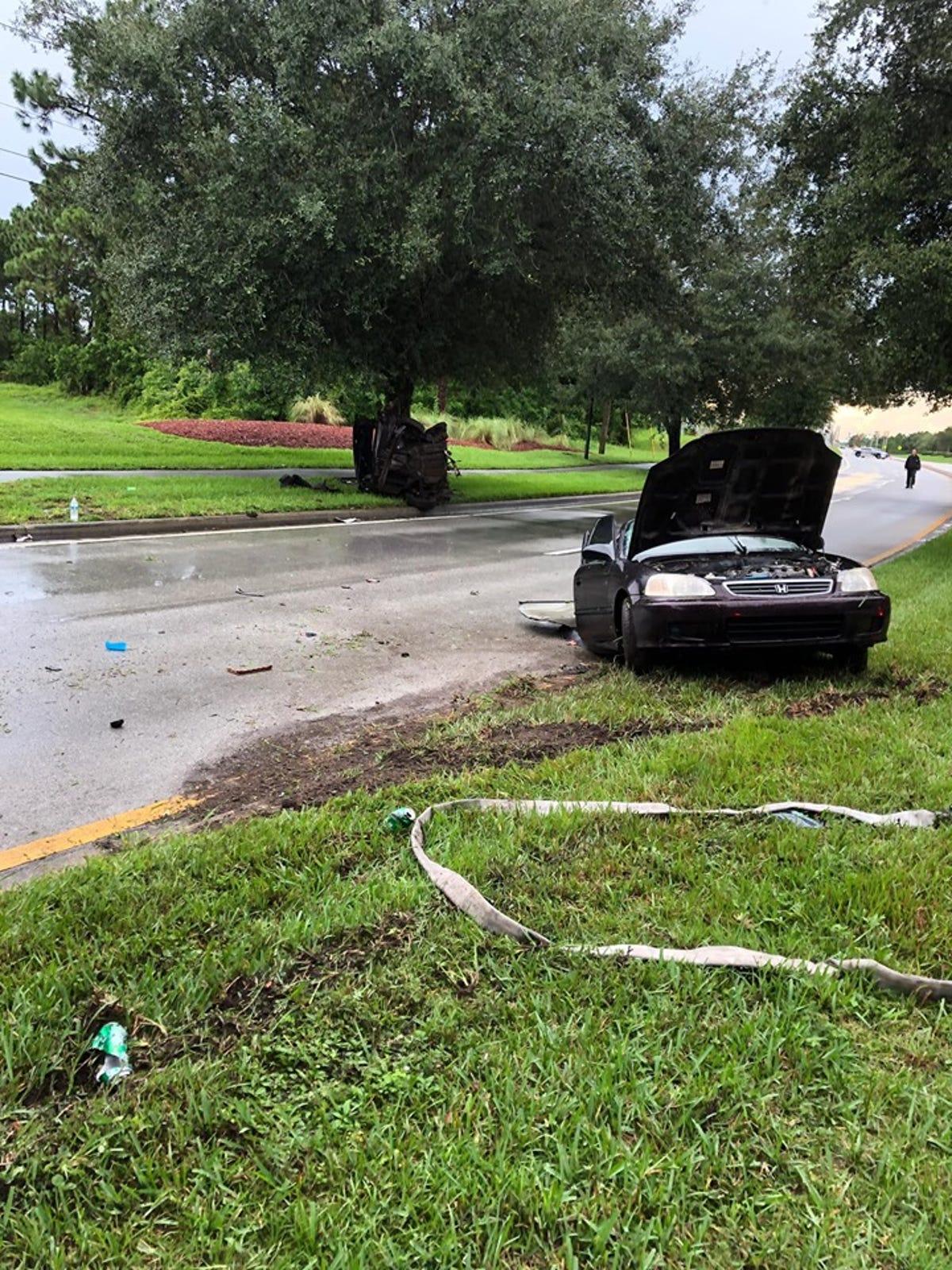 Two people survive Palm Bay crash involving oak tree
